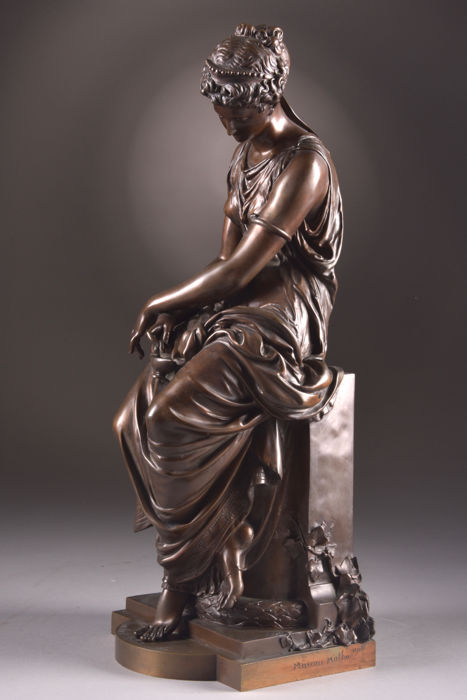 Mathurin Moreau (1822-1912) - large and beautifully executed bronze sculpture titled 'Psyche' - France - 2nd half of 19th century
