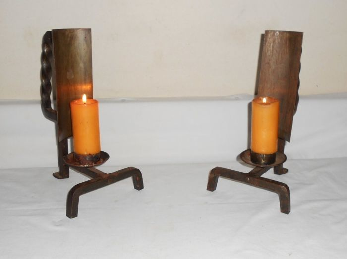 Great pair of sconces in hand wrought iron
