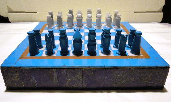 Afghan chess set in lapis lazuli, turquoise and marble