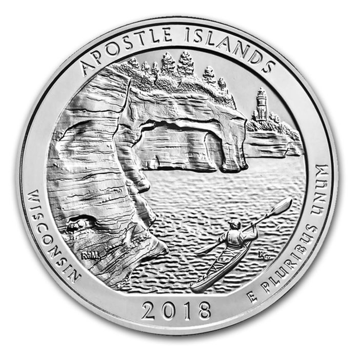 United States - US Mint - America the Beautiful - Apostle Islands National Lakeshore 2018 - WI - Large 5 oz 999 Silver Silver Coin