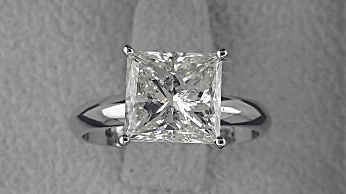 3.01 ct Princess Enhanced Diamond  Solitaire Engagement Ring in Solid White Gold - size 7