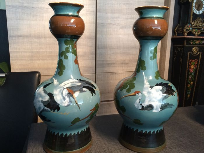 Boch Frres Keramis A Pair Of Earthenware Vases With Polychrome