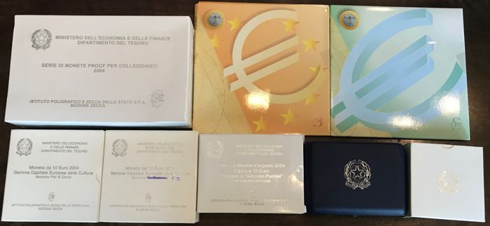 Italy 2004 8 Items 3 Euro 2004 Coins Sets Proof And Unc 2 10 Silver Coins 2 510 Silver Diptychs 5 Silver See Description