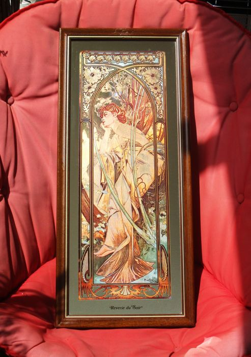 "Alphonse Mucha Mirror Painted works from the collection ""Times of the Day""- "" Reverie du soir"""