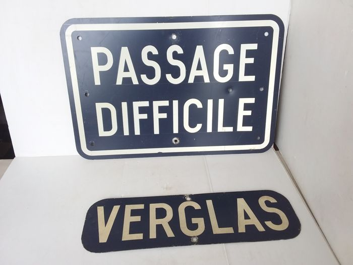 Metal signs passage difficile & verglas - 1985