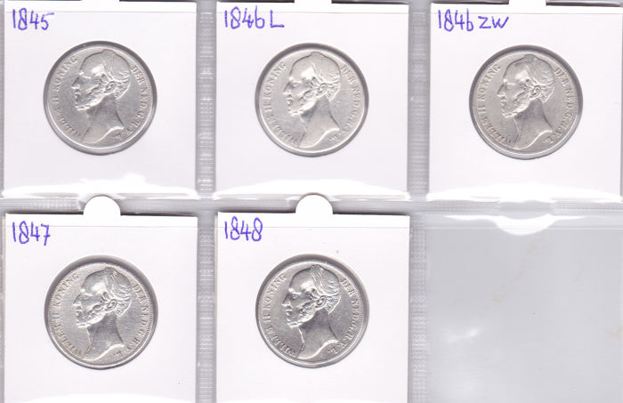 Netherlands - 1 guilder 1845, 1846 lily - 1846 sword - 1847, 1848 Willem II - 5 pieces - silver