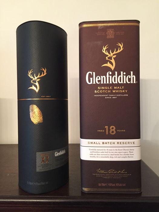 2 bottles - Glenfiddich 18 Small Batch Reserve & Glenfiddich Project XX Single Malt Scotch Whisky - 2 x 70 cl with Original Boxes