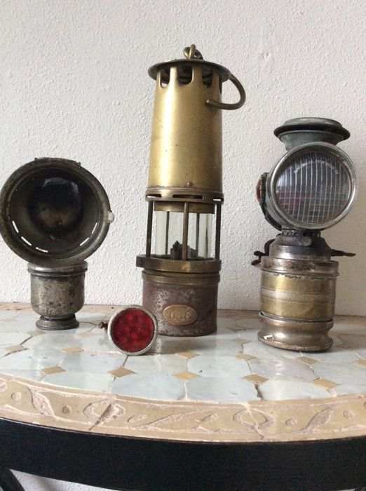 Old minetrainboatlamp 686 and two old carbide lamps on bicycle old minetrainboatlamp 686 and two old carbide lamps on bicyclemotorcycle lamps vintage brand detectiv and radium early 20th century aloadofball Choice Image