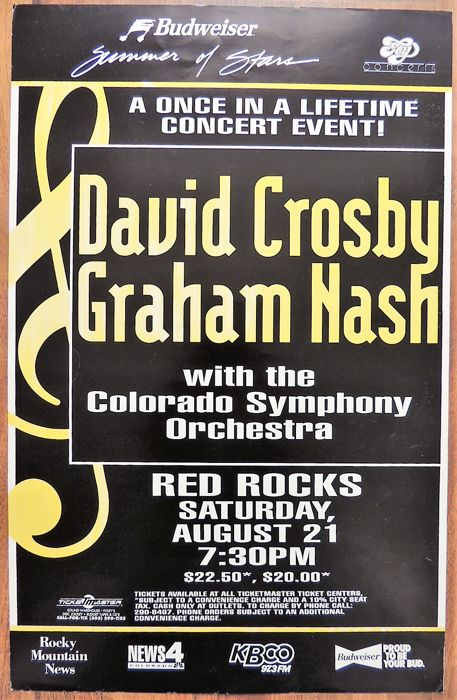 David Crosby Graham Nash and CPR Concert Poster