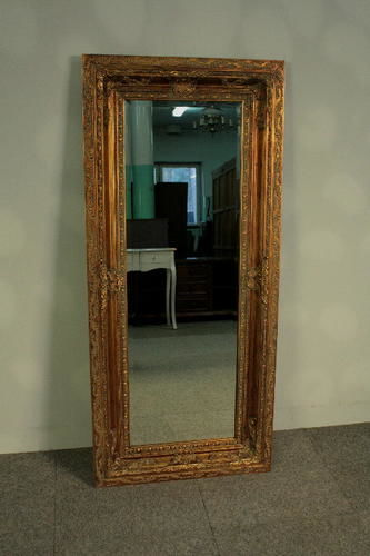 Very large mirror in a beautiful, golden, wooden frame. Made with great attention to detail - 145 cm