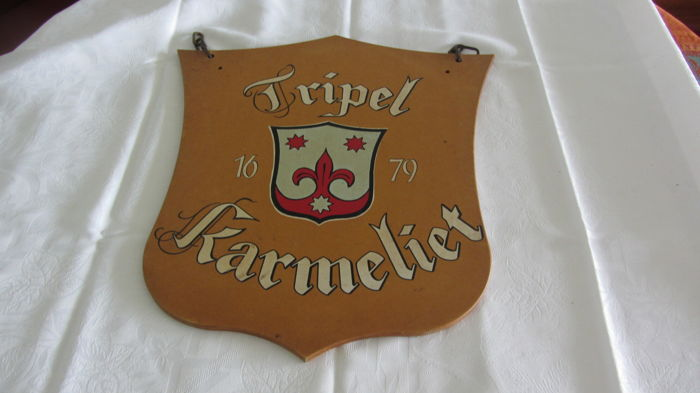 Wooden sign for Tripel Karmeliet - for hanging