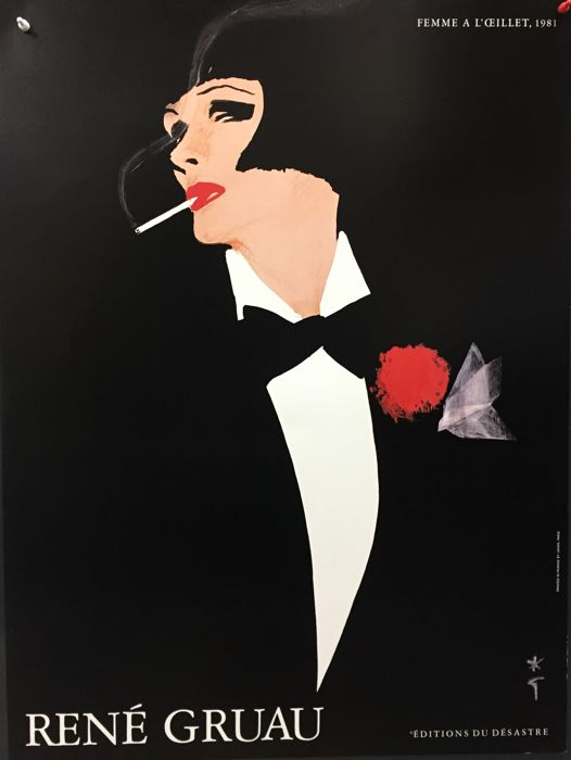 Rene Gruau - Woman with Carnation - 1980s