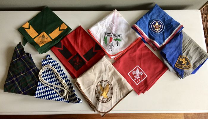 Collection of vintage Scout Association neckerchiefs - whistle lanyard