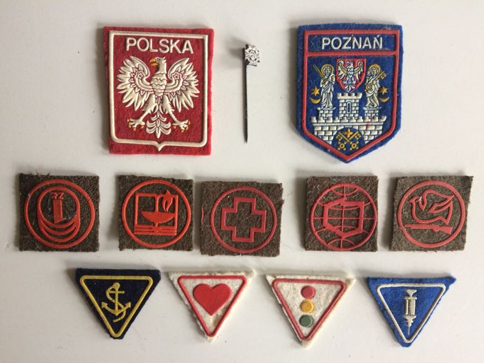 Collection of vintage Scout Association badges and pin - Poland