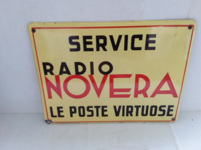 Very old enamel sign service radio novera le poste virtuose - Belgium - 1935