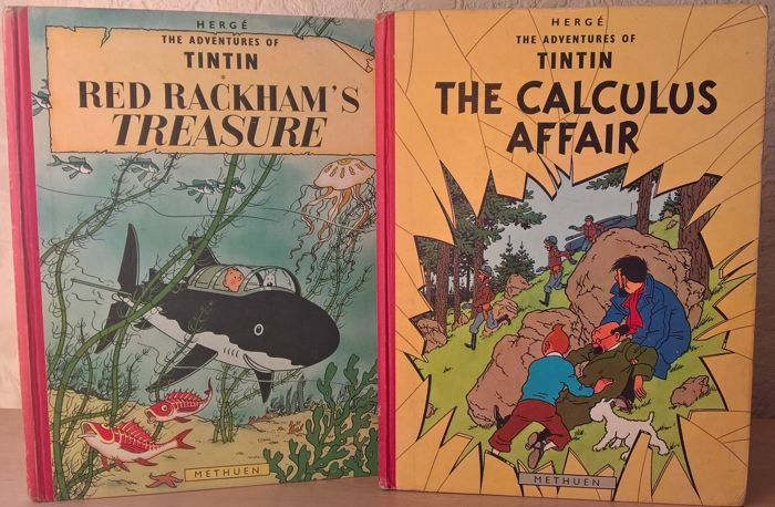 Tintin - Red Rackham's Treasure + The Calculus Affair - 2x hc - reprint (1965)