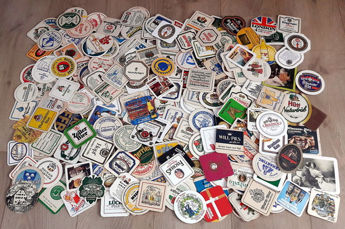 Collection of 264 rare beer coasters, various styles and companies