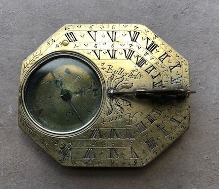 A brass sundial-compass by Michael Butterfield - circa 1700