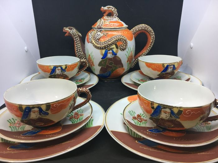 21 Pieces Japanese Moriage Satsuma Katuni Dragon ware Tea/Coffee teapot Sets  with