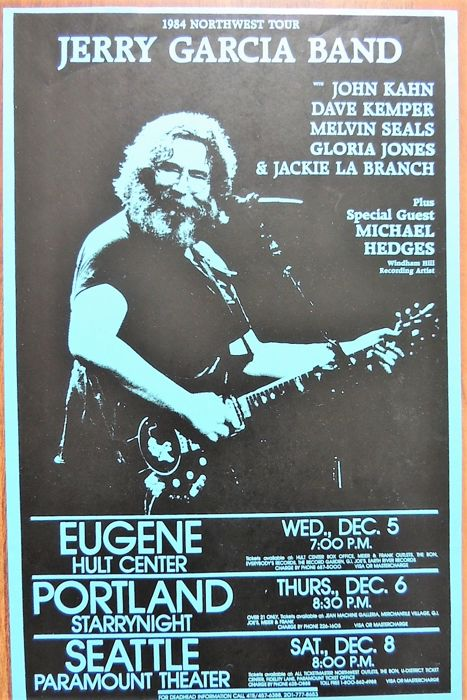 Jerry Garcia Band and Grateful Dead Concert Poster