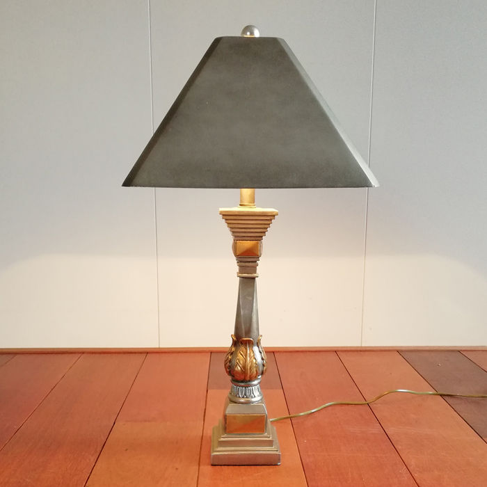 Neoclassical Style Palm Leaf Design Table Lamp - 72cm., France, 1980's
