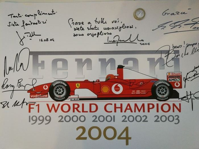 Ferrari - Poster F1 World Champion 2004 - With autographs of the protagonists - Schumacher - Montezemolo - Jean Todt - Barrichello - Byrne