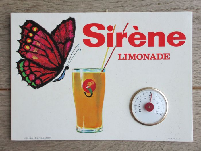 Old advertising sign SIRENE of STELLA ARTOIS with thermometer 1968