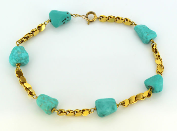 Vintage 18k gold ladies bracelet with turquoise, circa.1970's