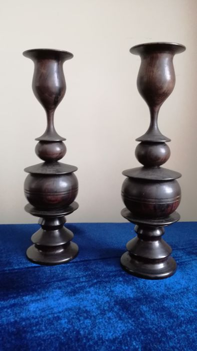 Two Solid Twisted candle holders in rosewood, Belgium, 1950s