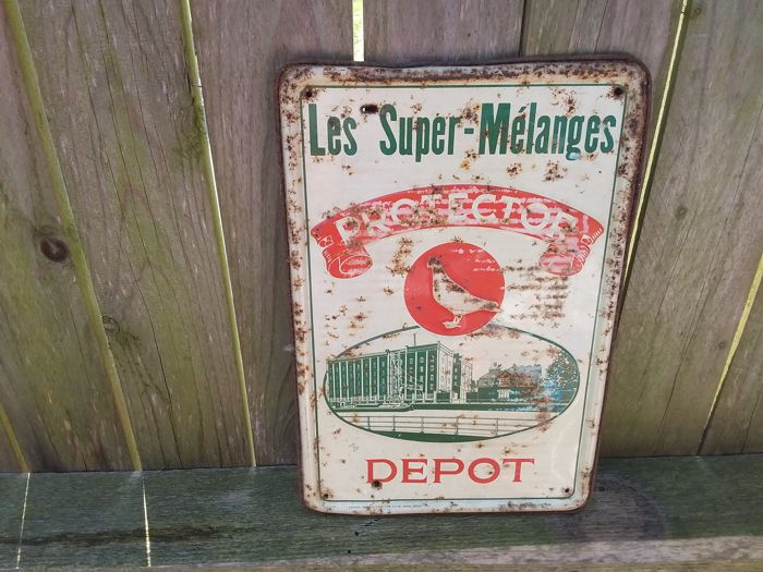 Old tin sign les super-mélanges protector depot - 1952