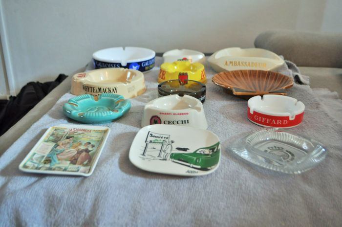 Lot of 13 advertising ashtrays