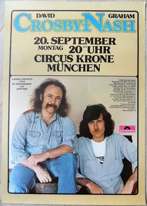David Crosby Graham Nash 1975 Concert Poster