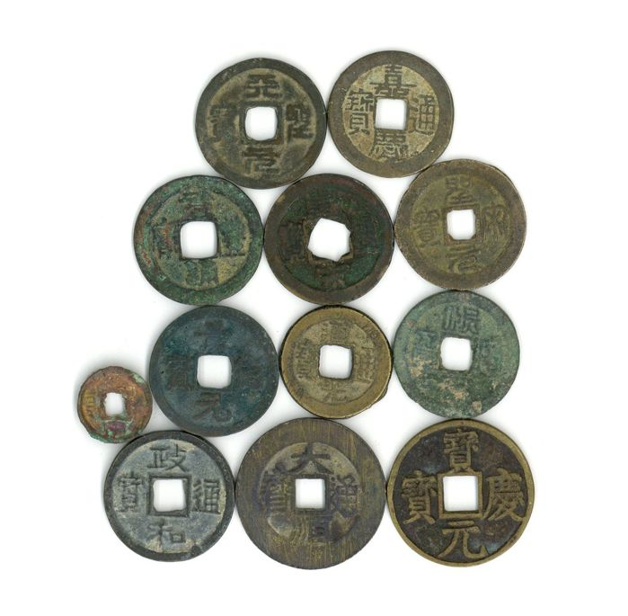 China - Lot various coins from Pre Qin to Qing Dynasty B.C.350-A.D.1912 (12 pieces)