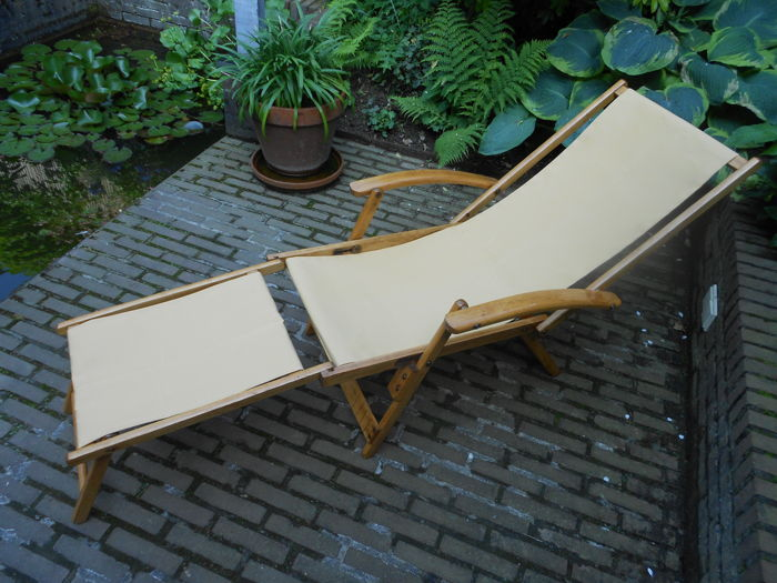 TORCK - folding garden chair with footrest and armrest