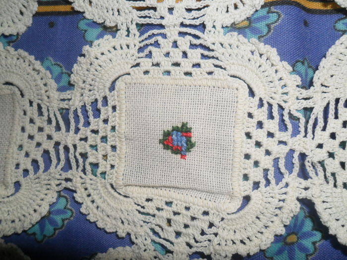 Hand crocheted 5  embroidered Church tablecloths, italy