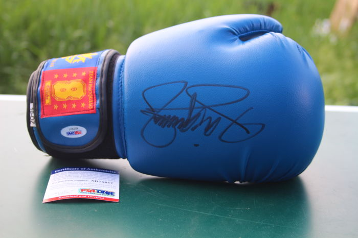 Manny Pacquiao Signed Boxing Glove MP8 blue with COA PSA DNA USA. Made in Philippines Autographed Boxing glove. No Reserve Price! Photo proof