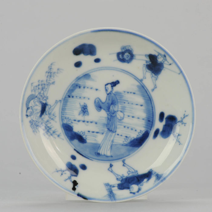 18C Kangxi Period Chinese porcelain dish Workmen and Lady - China - 18C