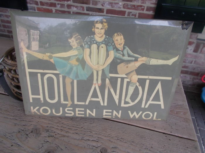 "Old advertising of ""Hollandia"" stockings and wool from the 1930s"