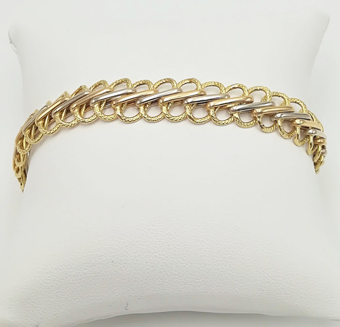 18 kt yellow gold bracelet, semi-rigid fantasy mesh, length: 20.00 cm, total weight: 7.81 g