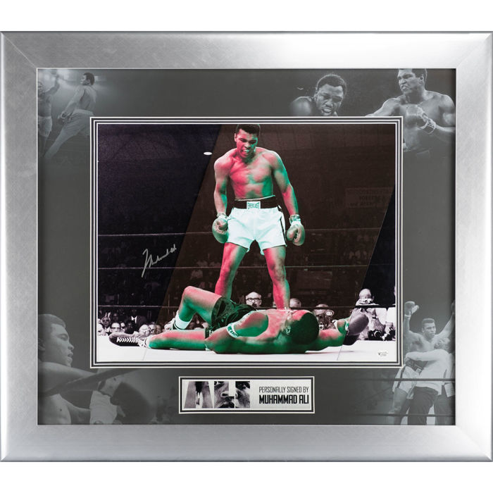 Signed Muhammad Ali Framed Boxing Photo Display - Online Authentics Authentication