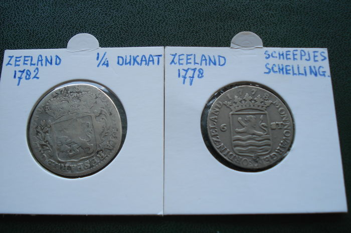 The Netherlands - Zeeland - 1/4 Ducat 1782 and 'Scheepjes Schelling' (Ship's Shilling) 1778 - silver