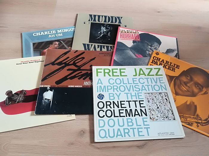 7 Fine Jazz and Blues LP Albums by Ornette Coleman, Freddie Hubbard, Mingus, Parker, Muddy, Williams.