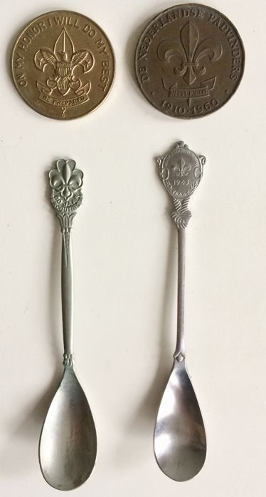 Collection of vintage Scout Association objects, coins and spoons