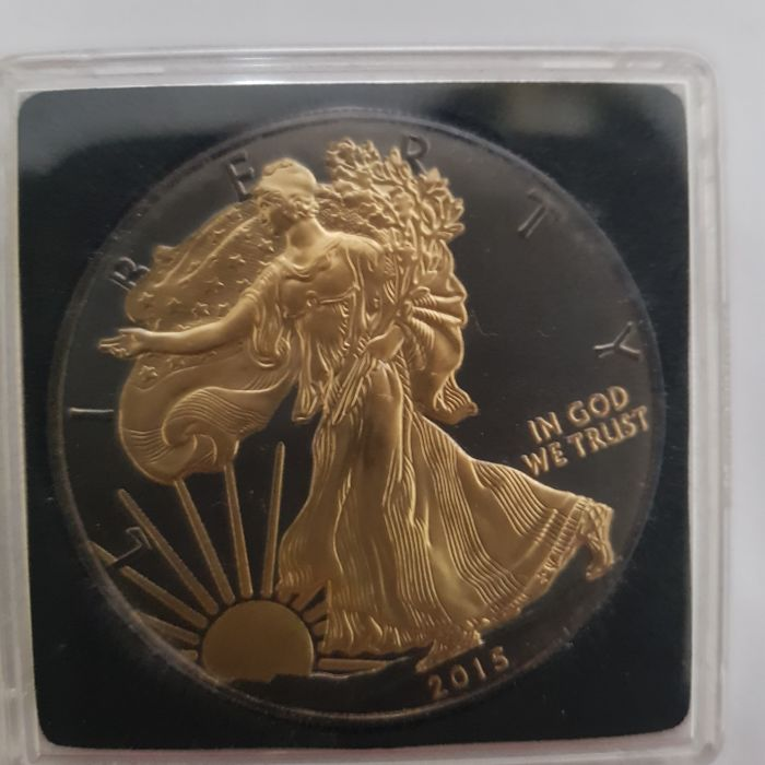 United States - Dollar 2015 'Walking Liberty' with Ruthenium and gilded - 1 oz silver
