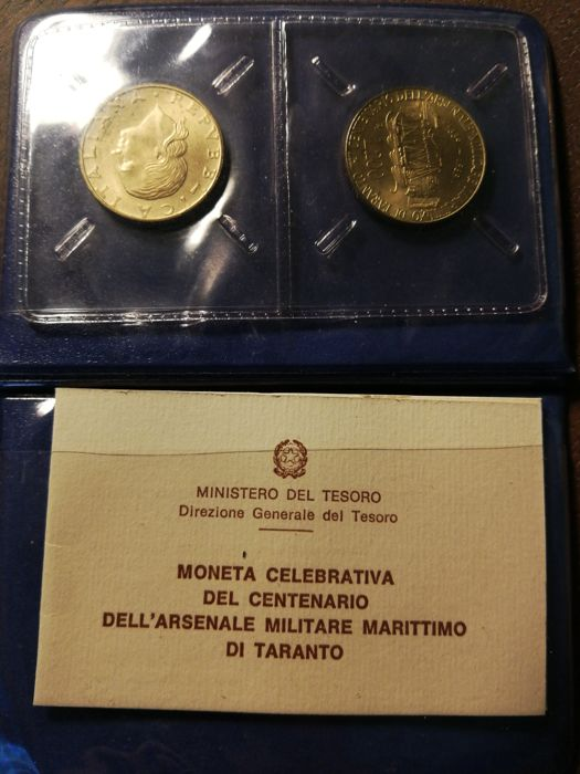 Italy, Republic - 200 Lire in official packaging, 'Centenario dell'arsenale militare marittimo di Taranto' (100th anniversary of the navy base of Taranto)
