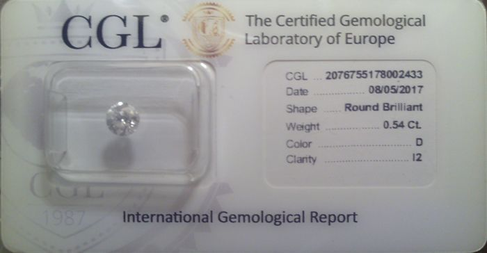 Diamond 0.54 ct D I2 G-Vg-Vg
