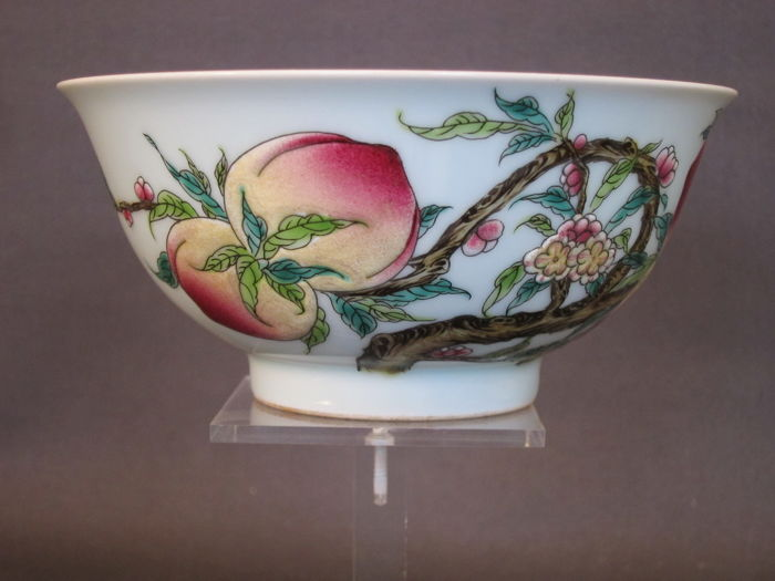 Fine Famille Rose Bowl with Auspicious Decoration - China - Late 20th Century