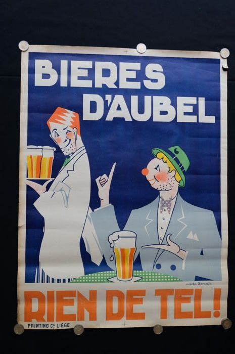 Odette Servais - original Belgian advertising beer poster 1930s - Bieres D'aubel