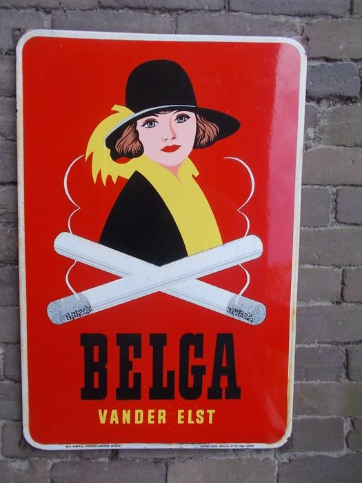 "Enamel advertising sign ""Belga"" cigarettes 1958"