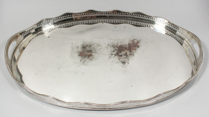 Huge Art Deco Sheffield silver plated on copper oval gallery serving tray, England, 1930s
